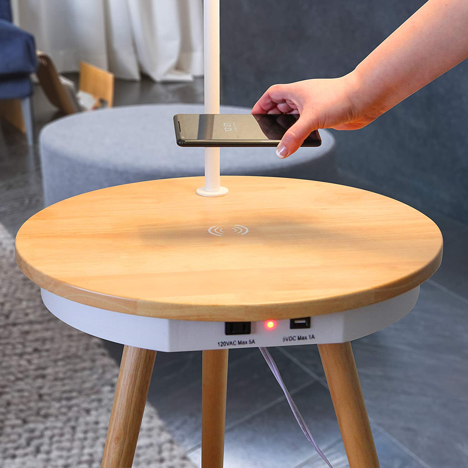 Brightech Owen End Table + Wireless Charging