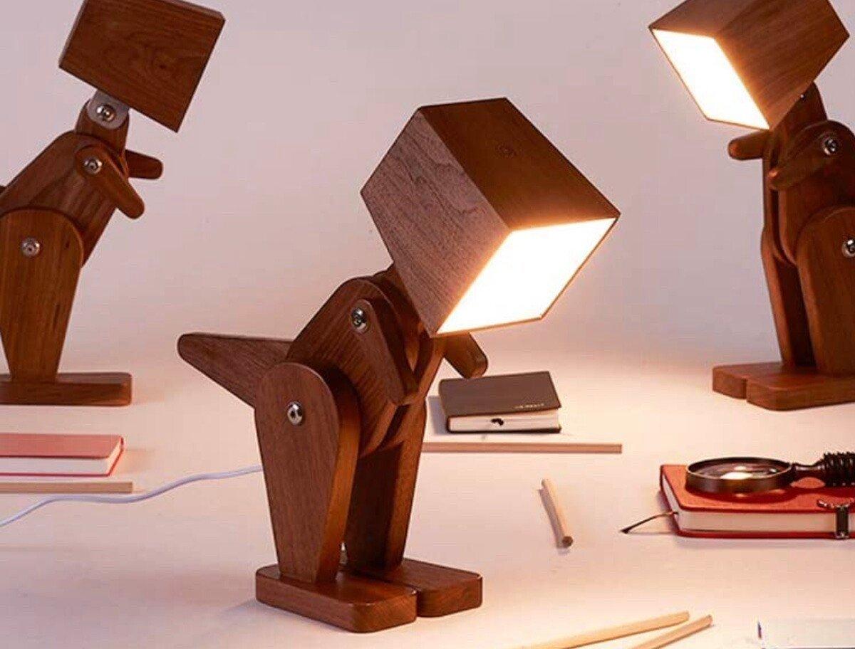 HROOME Unique Dinosaur Wood Table Lamp